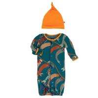 KICKEE PANTS PRINT LAYETTE GOWN CONVERTER & KNOT HAT SET IN OASIS KOINOBORI