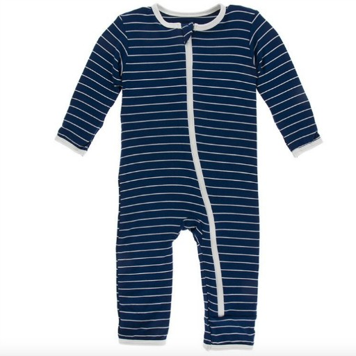 KICKEE PANTS PRINT COVERALL WITH ZIPPER IN TOKYO NAVY STRIPE