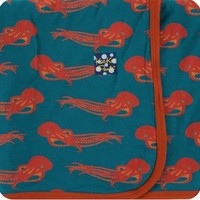 KICKEE PANTS PRINT SWADDLING BLANKET IN OASIS OCTOPUS