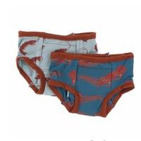 KICKEE PANTS TRAINING PANTS SET IN JADE SHRIMP & OASIS OCTOPUS