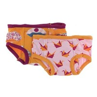 KICKEE PANTS TRAINING PANTS SETS IN APRICOT FANS & LOTUS ORIGAMI CRANE