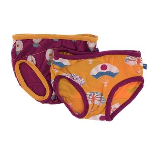 KICKEE PANTS TRAINING PANTS SETS IN APRICOT FANS & DRAGONFRUIT LANTERN FESTIVAL