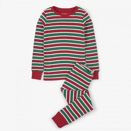 HATLEY HOLIDAY STRIPE ORGANIC  PAJAMA SET