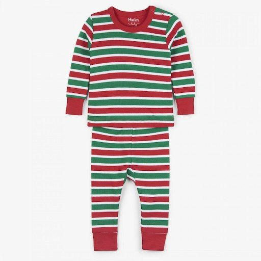 HATLEY HOLIDAY STRIPE ORGANIC COTTON BABY PAJAMA SET