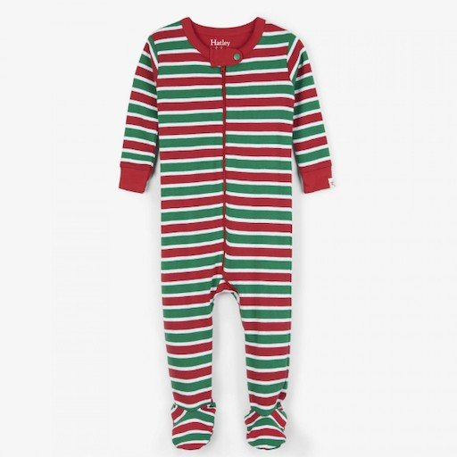 HATLEY HOLIDAY STRIPE ORGANIC COTTON FOOTED COVERALL