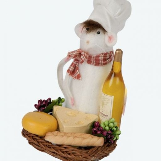BYERS' CHOICE MOUSE WITH WINE AND CHEESE