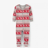 HATLEY FAIR ISLE MOOSE ORGANIC COTTON FOOTED COVERALL