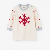 HATLEY SNOWFLAKE POM POM BABY SWEATER DRESS