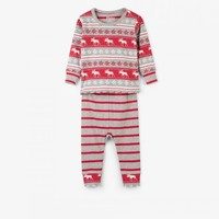 HATLEY FAIR ISLE MOOSE ORGANIC COTTON BABY PAJAMA SET