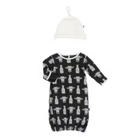 KICKEE PANTS PRINT LAYETTE GOWN & SINGLE KNOT HAT SET