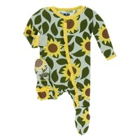 KICKEE PANTS PRINT MUFFIN RUFFLE FOOTIE WITH ZIPPER IN ALOE SUNFLOWER