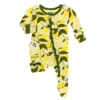 KICKEE PANTS PRINT MUFFIN RUFFLE FOOTIE WITH ZIPPER IN LIME BLOSSOM LEMON TREE