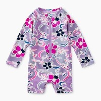 TEA PATTERNED BABY SHORTIE RASH GUARD