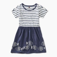 TEA GEO FISH GRAPHIC TWIRL DRESS