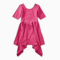 TEA SOLID HANDKERCHIEF HEM DRESS