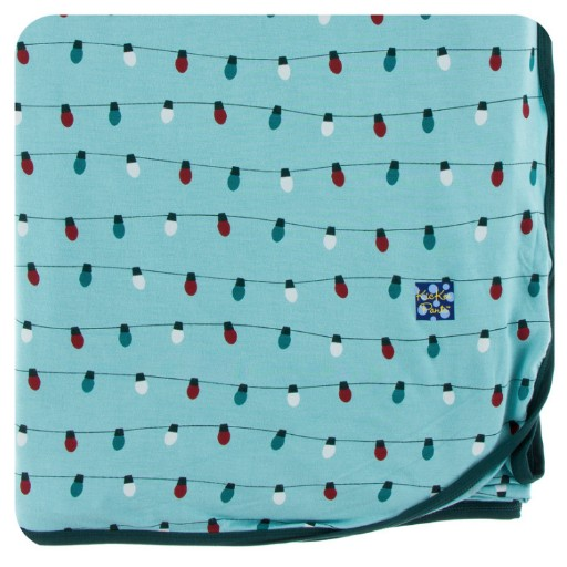 KICKEE PANTS HOLIDAY SWADDLING BLANKET IN GLACIER HOLIDAY LIGHTS