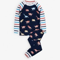 HATLEY GLOWING FOSSILS ORGANIC COTTON RAGLAN PAJAMAS SET