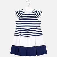 MAYORAL USA PLEATED STRIPED DRESS