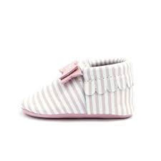 FRESHLY PICKED FRESHLY PICKED PINK CANDY STRIPE BOW MOCC
