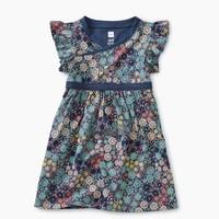 TEA PRINTED WRAP NECK BABY DRESS