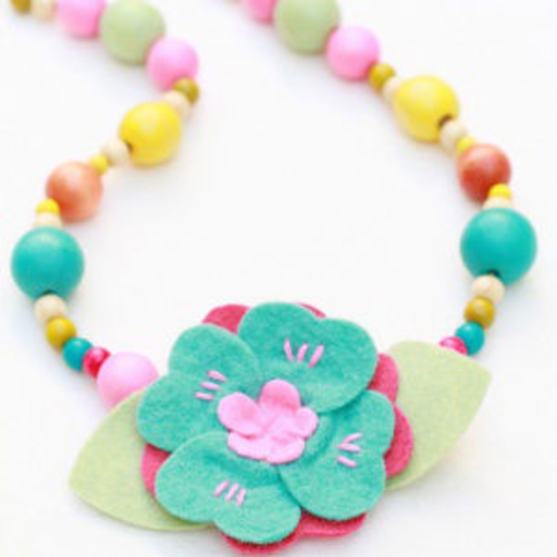 EVERBLOOM EVERBLOOM BLUE FLOWER & BEADS NECKLACE