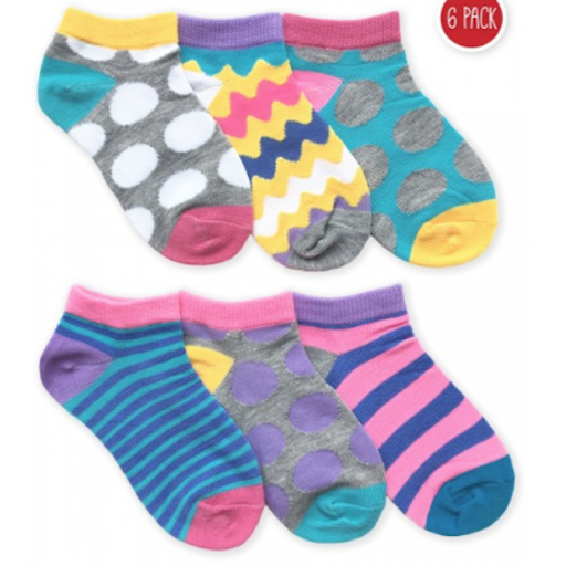 JEFFERIES SOCKS DOTS/STRIPES LOW CUT 6 PK SOCKS