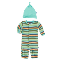 KICKEE PANTS PRINT LAYETTE GOWN CONVERTER & KNOT HAT SET, CANCUN GLASS STRIPE, NB