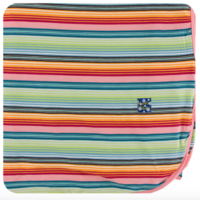 KICKEE PANTS PRINT SWADDLING BLANKET IN CANCUN STRAWBERRY STRIPE