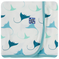 KICKEE PANTS PRINT SWADDLING BLANKET IN NATURAL MANTA RAY