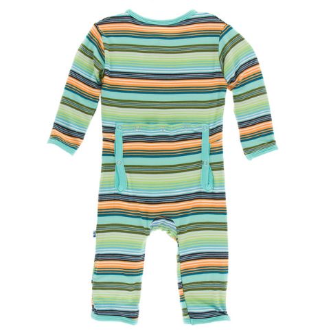 KICKEE PANTS PRINT COVERALL WITH ZIPPER IN CANCUN GLASS STRIPE