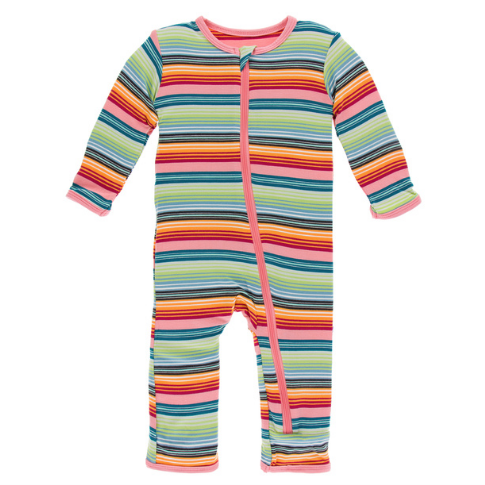 KICKEE PANTS PRINT COVERALL WITH ZIPPER IN CANCUN STRAWBERRY STRIPE