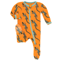 KICKEE PANTS PRINT FOOTIE WITH ZIPPER IN APRICOT BEAD LIZARD