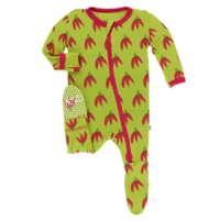 KICKEE PANTS PRINT FOOTIE WITH ZIPPER IN MEADOW CHILI PEPPERS