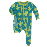 KICKEE PANTS PRINT FOOTIE WITH ZIPPER IN SEAGRASS CACTUS
