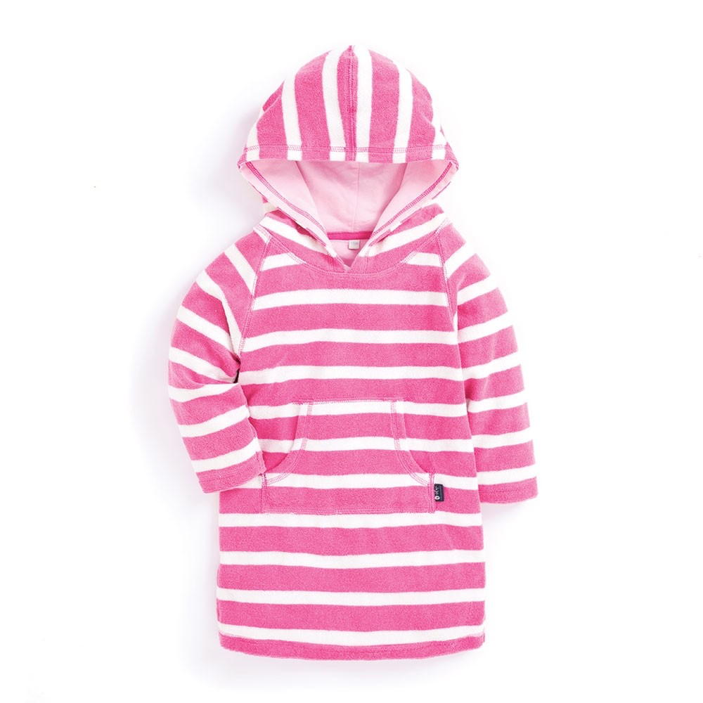 JOJO MAMAN BEBE STRIPE HOODED TOWELING PULL ON