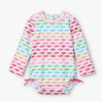 HATLEY WATERCOLOUR FISHIES BABY RASH GUARD SWIMSUIT