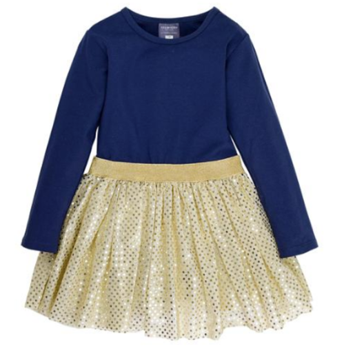TOOBYDOO IRINA LONG SLEEVE SPARKLE BELTED TULLE DRESS