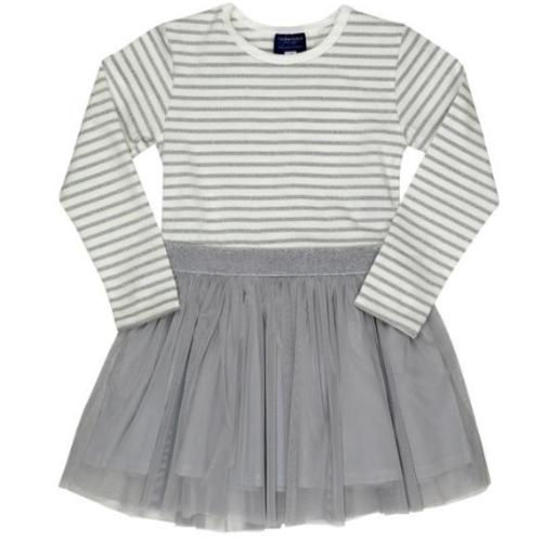 TOOBYDOO MANAMI LONG SLEEVE SPARKLE BELTED TULLE DRESS
