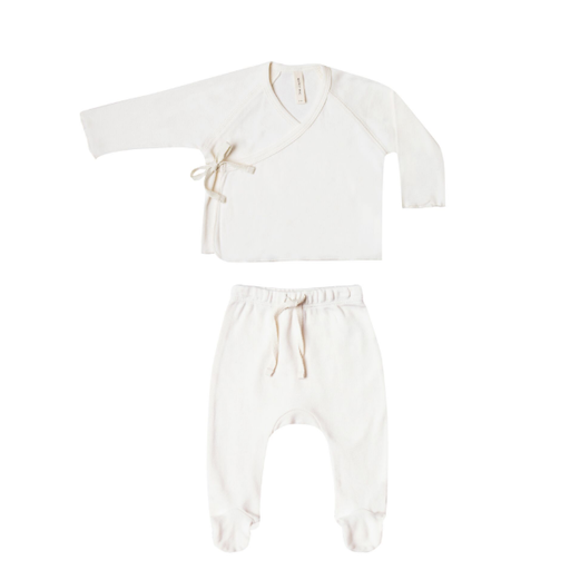 QUINCY MAE ORGANIC KIMONO TOP & FOOTED PANT SET