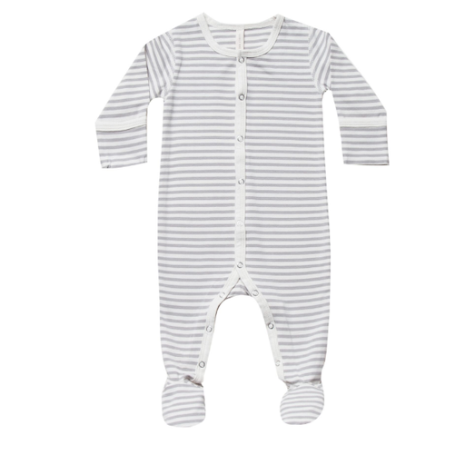 QUINCY MAE ORGANIC STRIPED SNAP FOOTIE
