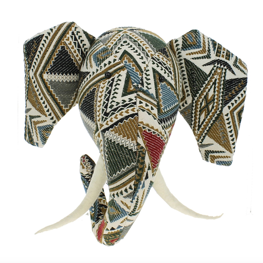 FIONA WALKER FIONA WALKER ENGLAND PATCHWORK ELEPHANT HEAD WALL MOUNT
