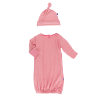 KICKEE PANTS PRINT LAYETTE GOWN & SINGLE KNOT HAT SET IN DESERT ROSE GOLD LEAF