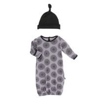 KICKEE PANTS PRINT LAYETTE GOWN & SINGLE KNOT HAT SET IN FEATHER MANDALA