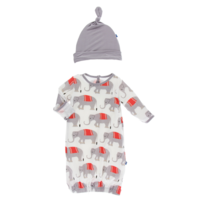KICKEE PANTS PRINT LAYETTE GOWN & SINGLE KNOT HAT SET IN NATURAL INDIAN ELEPHANT
