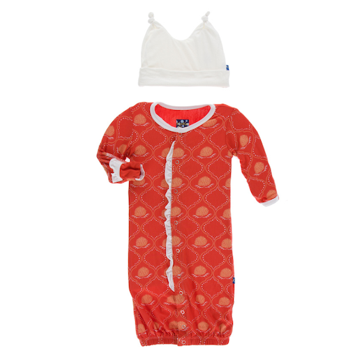 KICKEE PANTS PRINT RUFFLE LAYETTE GOWN CONVERTER & DOUBLE KNOT HAT IN POPPY MARIGOLD LATTICE