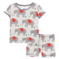 KICKEE PANTS PRINT SHORT SLEEVE PAJAMA SET WITH SHORTS IN NATURAL INDIAN ELEPHANTS