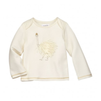 MUD PIE IVORY FUR OSTRICH TEE
