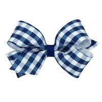 WEE ONES MEDIUM GINGHAM PRINT BOW