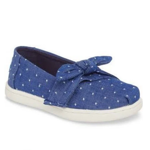 TOMS SHOES CHAMBRAY BOW TINY TOMS CLASSICS