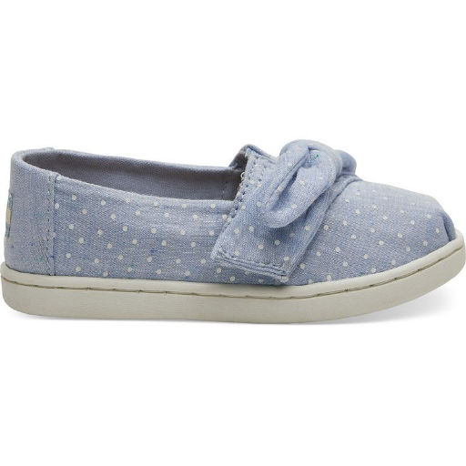 TOMS SHOES CLASSIC CHAMBRAY DOTS/BOW